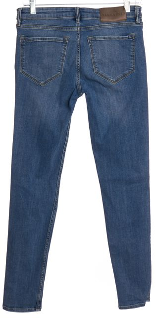 ALLSAINTS ALL SAINTS Blue Distressed Mast Slashed Indigo Skinny Jeans