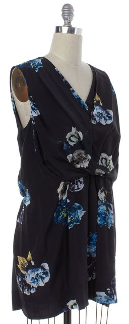 ALLSAINTS ALL SAINTS Black Multi Color Floral Print Silk Blouson Dress