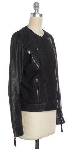 ALL SAINTS Black Leather Suede Combo Connell Biker Motorcycle Jacket Size 10