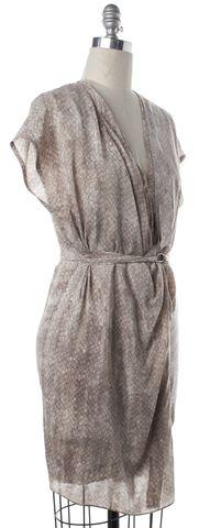ALLSAINTS ALL SAINTS Beige Print Silk Wrap Dress