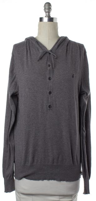ALLSAINTS ALL SAINTS Gray Button Down Hooded Long Sleeve Knit Top