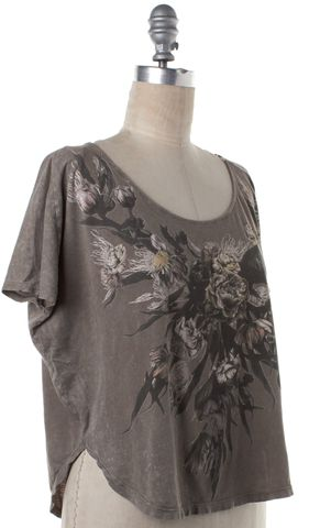 ALL SAINTS Gray Black Multi Floral Graphic Tee T-Shirt