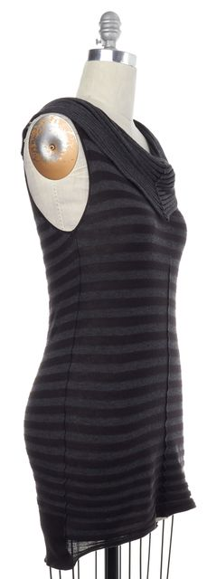 ALLSAINTS Gray Striped Cotton Knit Orcus Top