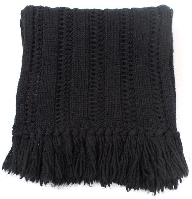 ALLSAINTS Navy Chunky Knit Long Fringe Scarf