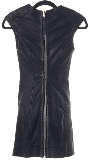 ALLSAINTS Black Biker Leather Sheath Bodycon Mini Dress