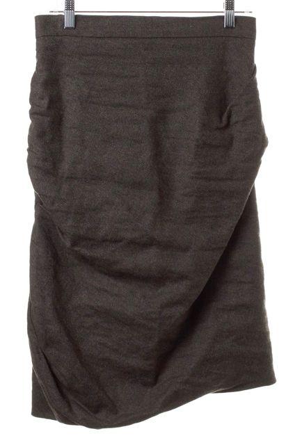 ALLSAINTS Brown Wool Blend Drape Skirt