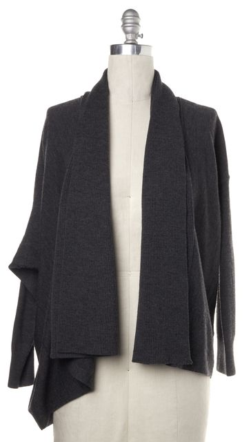 ALLSAINTS Gray Wool Asymmetrical Open Cardigan Sweater