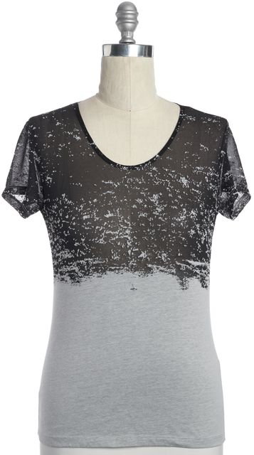 ALLSAINTS Gray Black Semi Sheer Burnout Briar Kique Tee T-Shirt Top