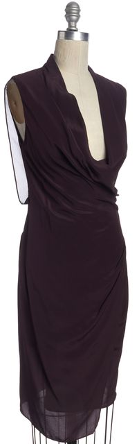 ALLSAINTS Wine Purple Black Casual Silk Wrap Cap-Sleeve Sheath Dress