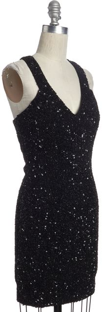 ALLSAINTS Black Sequin Embellished Cazia Dress
