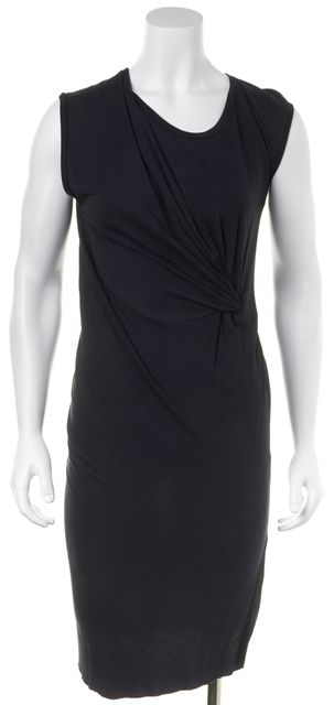 ALLSAINTS Dark Blue Gathered Sleeveless Knee Length Stretch Dress