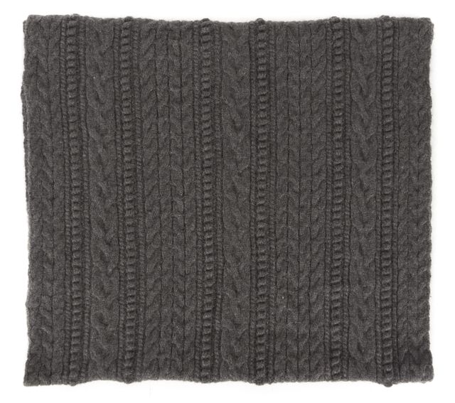 ALLSAINTS Gray Cable Knit Lambswool Edara Snood Infinity Scarf