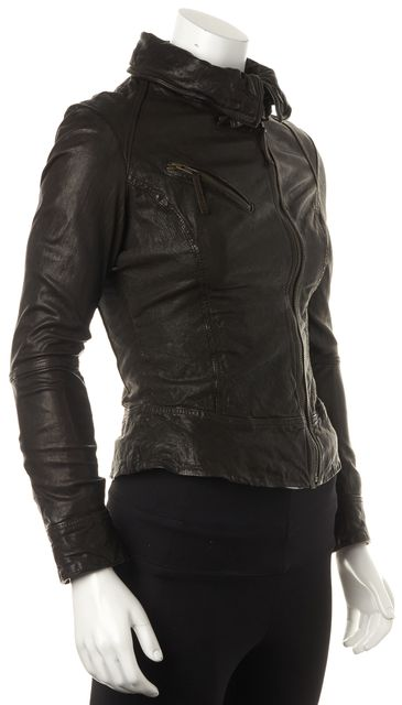ALLSAINTS Brown Leather Casual Belvedere Basic Zip Jacket