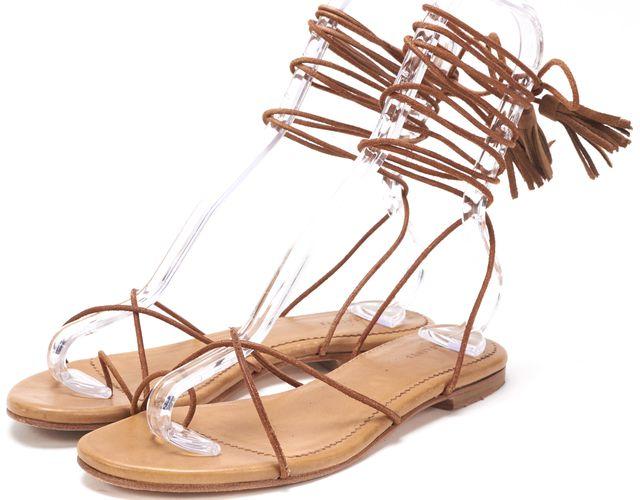 ALLSAINTS Brown Lace-Up Tassel Dorica Sandals