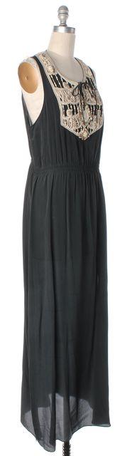 ALLSAINTS Charcoal Gray Ivory Bead Embellished Silk Arcadian Maxi Dress