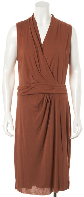 ALLSAINTS Orange Novi Draped Sleeveless Knee Length Wrap Dress