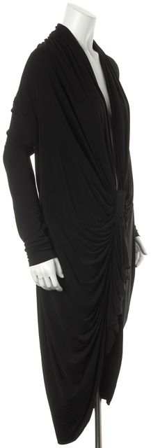 ALLSAINTS Black Swinton Long Sleeve Draped Blouson Dress