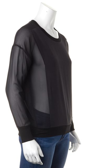 ALLSAINTS Black Silk Sheer Long Sleeves Crewneck Blouse Top