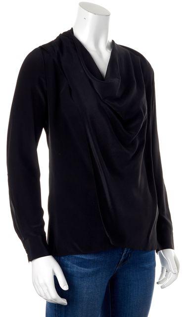 ALLSAINTS Casual Black Silk Long Sleeve Blouse