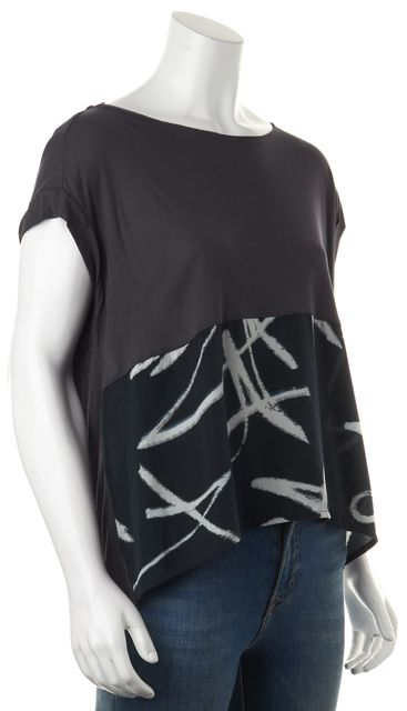 ALLSAINTS Gray Navy Blue White Abstract Print Basic Relaxed Fit Tee T-Shirt