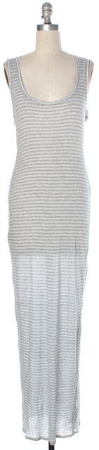 ALLSAINTS Heather Gray White Striped Scoop Neck Tank Pious Maxi Dress
