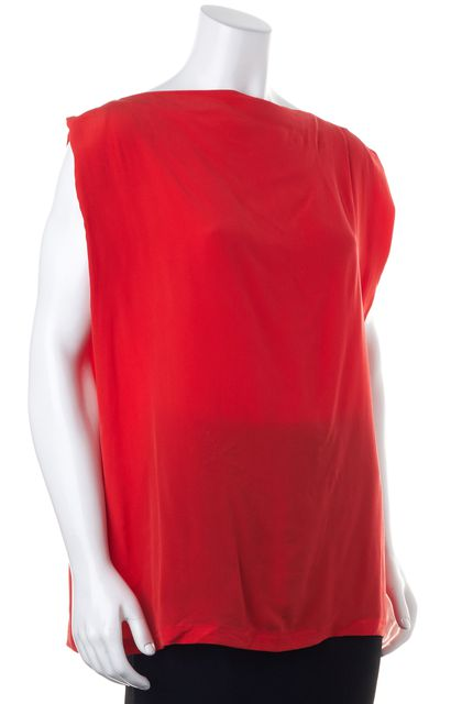 ALLSAINTS Red Silk Lucie Sleeveless Boat Neck Blouse Top