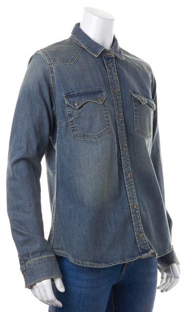 ALLSAINTS Blue Button Down Jean Shirt Top US 10 UK 14