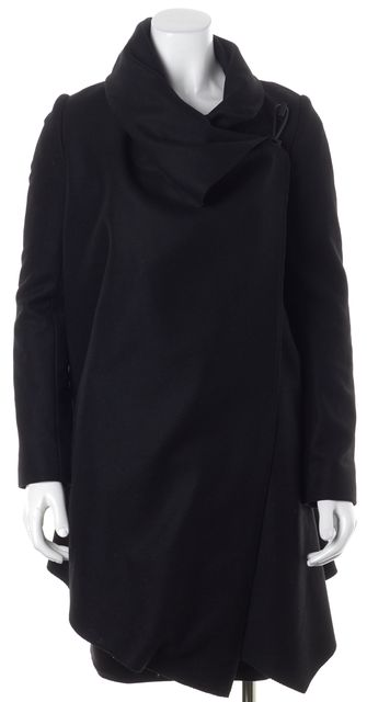 ALLSAINTS Black Wool Knit Basic Oversized Relaxed Fit Coat