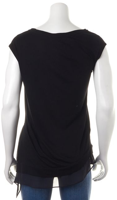 ALLSAINTS Black Sheer Hem Blouse Top