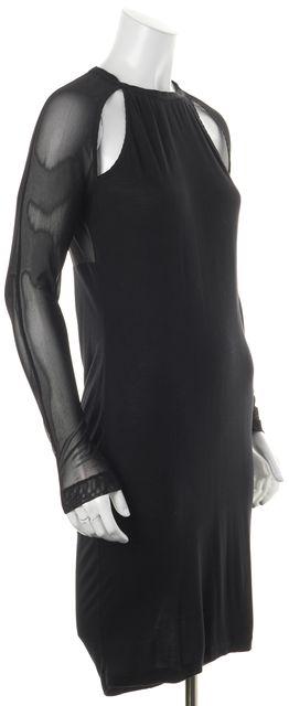ALLSAINTS Black Cold Shoulder Sheer Mesh Combo Bodycon Kiara Dress