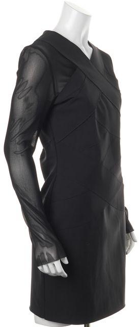 ALLSAINTS Black Sheer Long Sleeves Stretch Bodycon Laila Dress