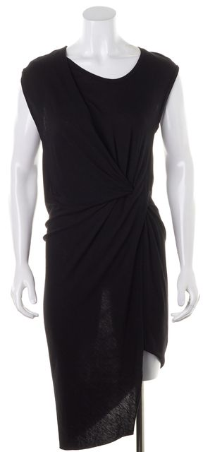 ALLSAINTS Black Jersey Draped Pleated Asymmetrical Hem Leena Sheath Dress
