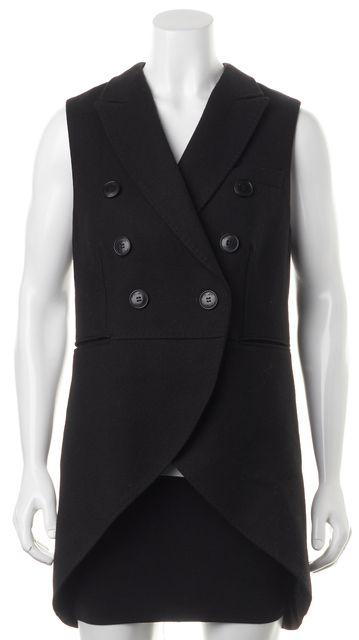 ALLSAINTS Black Wool Double Breasted Klaxon Gilet Vest