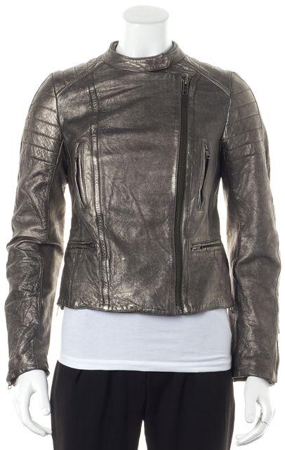 ALLSAINTS Metallic Pewter Silver Zip Front Leather Basic Moto Jacket