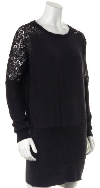 ALLSAINTS Black Knit Silk Front Lace Sleeves Taya Sweater Dress