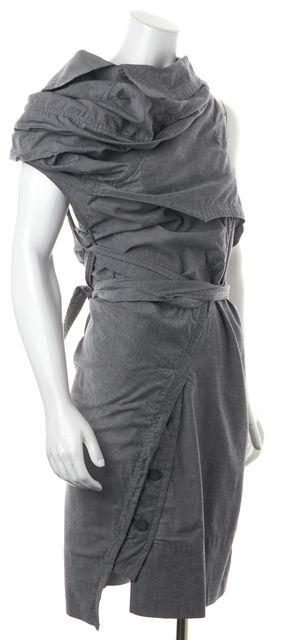 ALLSAINTS Gray Cotton Waist Tie Idun Trench Sheath Dress