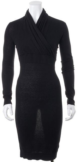 ALLSAINTS Black Wool Cancity Long Sleeve Wrap Effect Sweater Dress