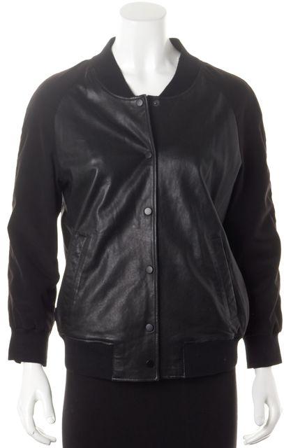 ALLSAINTS Black Leather Satin & Knit Trim Drey Baseball Bomber Jacket