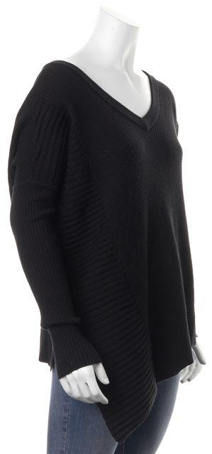 ALLSAINTS Black Ribbed Asymmetrical Hem Keld V-Neck Sweater