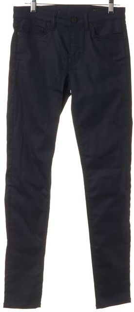 ALLSAINTS Navy Blue Mast/Coated Mid-Rise Skinny Jeans