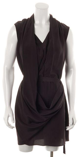 ALLSAINTS Purple Silk Renati Gathered Sheath Dress