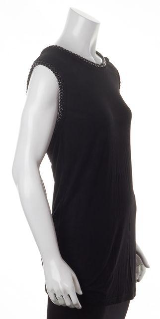 ALLSAINTS Black Chain Link Trim Ita Tee Jersey Knit Top