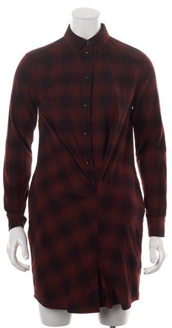 ALLSAINTS Red Black Flanneled Cotton Plaid Draped Kayla Shirt Dress