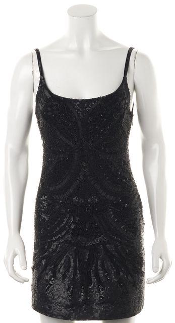 ALLSAINTS Black Sequin Beaded Eagle Spaghetti Strap Sheath Dress