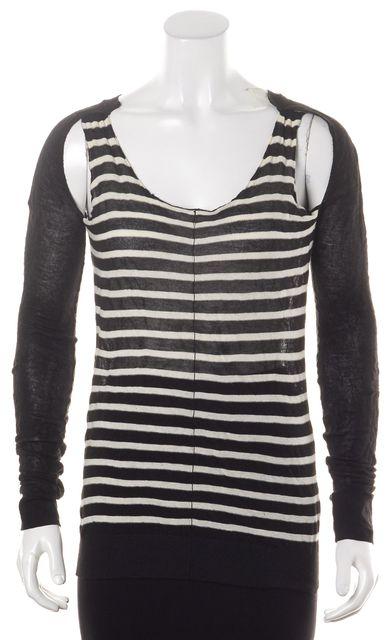 ALLSAINTS Black White Striped Belva Jumper Cutout Scoop Neck Sweater