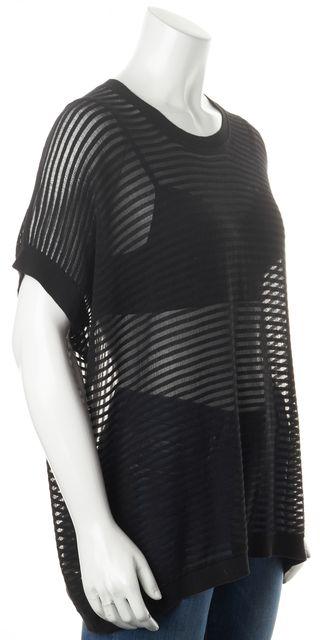 ALLSAINTS Black Striped Ladder Crewneck Sheer Basic T-Shirt