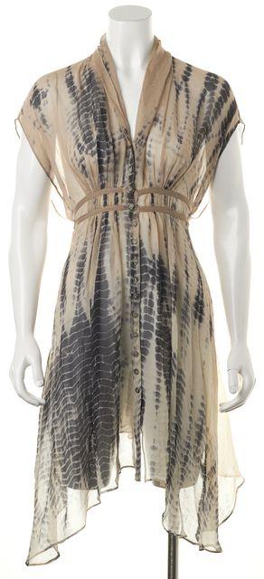 ALLSAINTS Beige Tie Dye Sheer Silk Porisan Kaftan Blouson Dress