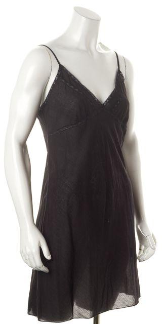 ALLSAINTS Black Sheer Cotton Lace Trim Side Buttons Olivia Slip Dress