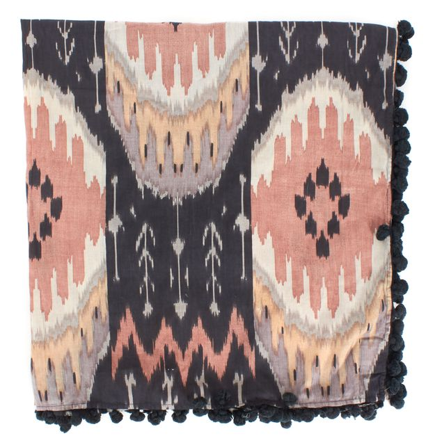 ALLSAINTS Pink Gray Beige Ikat Print Cotton Pom Pom Long Scarf