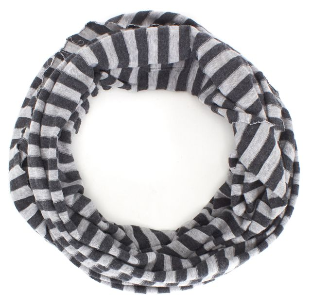 ALLSAINTS Gray Striped Cotton Raw Edge Orcus Snood Scarf